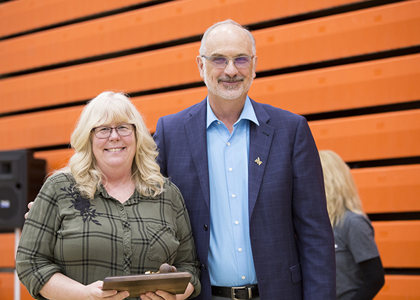 Colleen Bartlett was recognized for her term as faculty president.