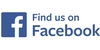 Find Us on Facebook in blue lettering with the facebook icon which is a blue box with a lowercase f.