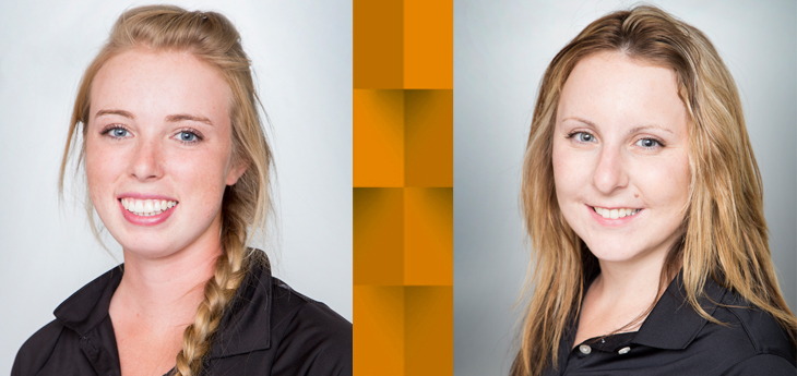 portraits of two CWC women's golfers, Bailee Watt and Sarah Schroefel
