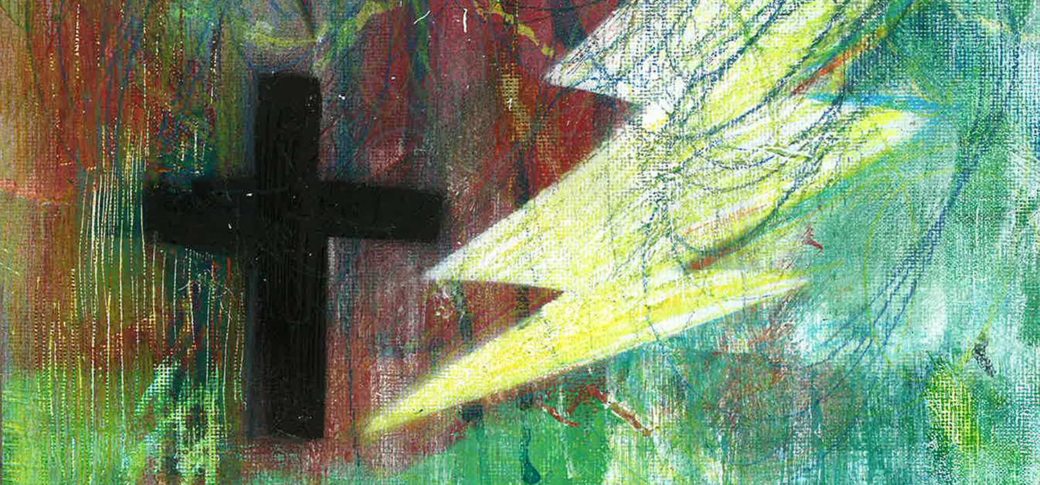 painting of a cross and lightning