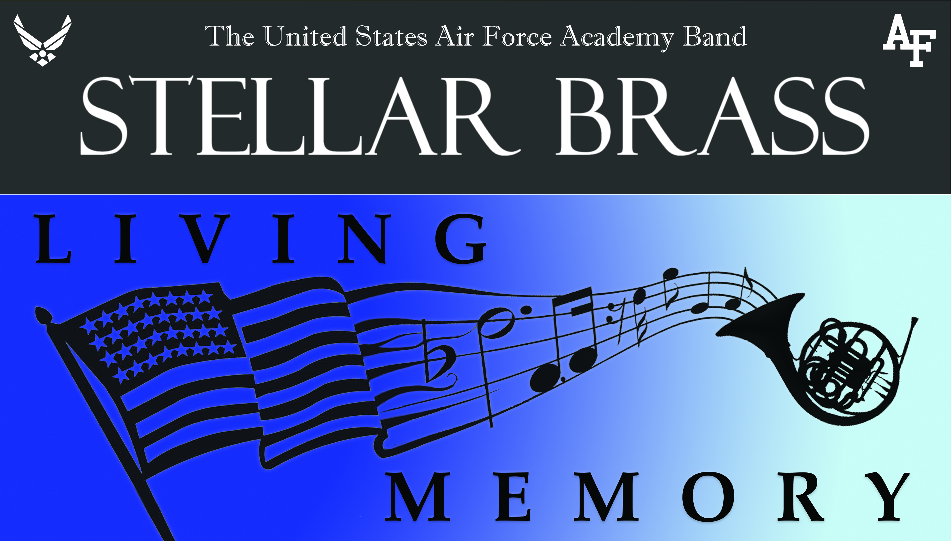 poster of flag with music notes about the Air Force Academy Band Stellar Brass