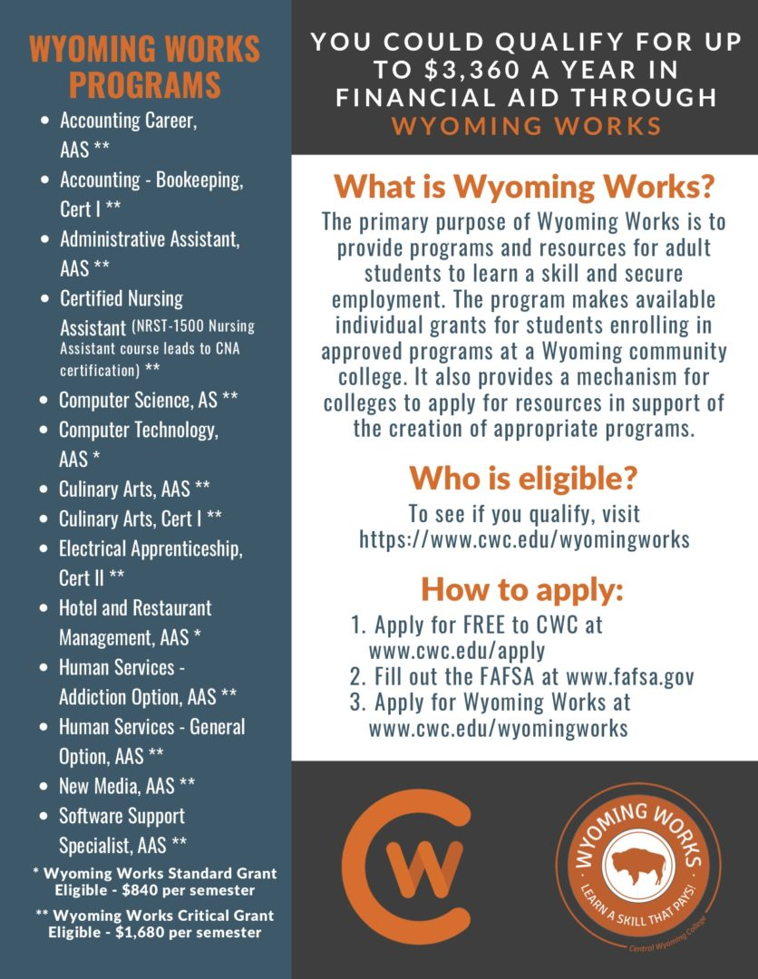 Flyer that lists the Wyoming Works programs and requirements