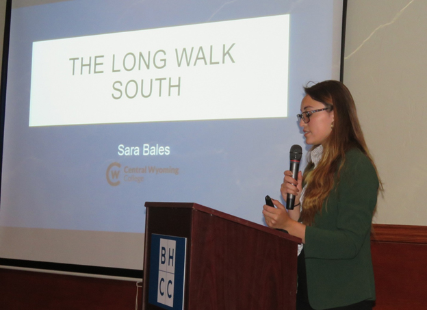 photo of student Sara Bales presenting a presentation at an archaeology conference
