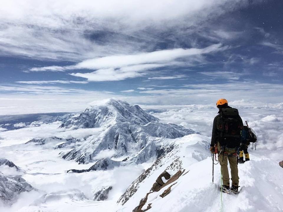 CWC alumnus Taylor Pyle on the Washburn of Mount Denali as he climbs the summit