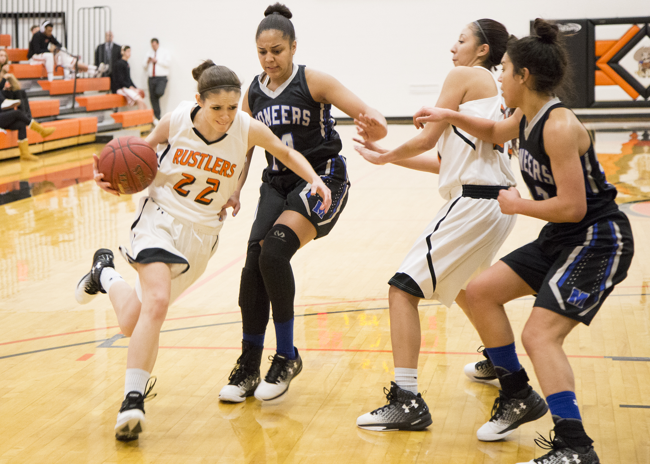women's basketball player, Kyla Paulus dribbles the ball down the court in a contest against Miles Community College